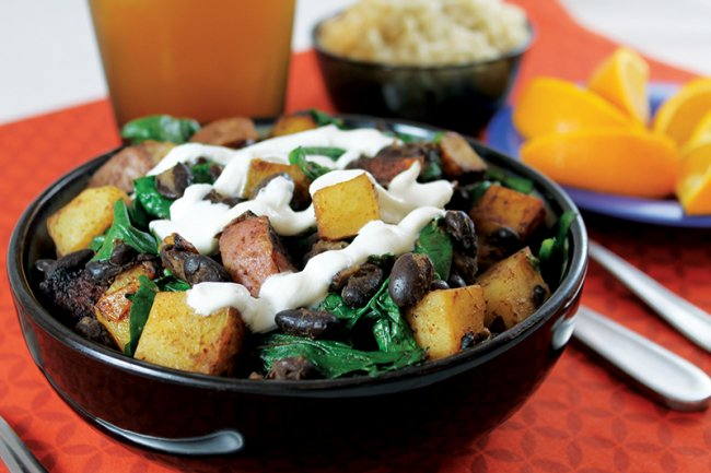 Bowl of Potato Black Bean Skillet