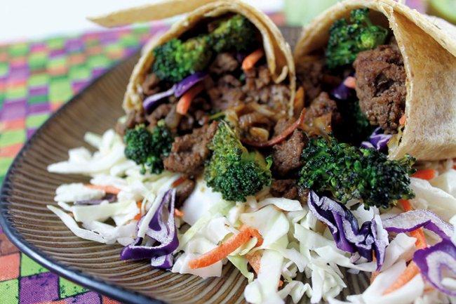 Asian Beef Broccoli Wraps