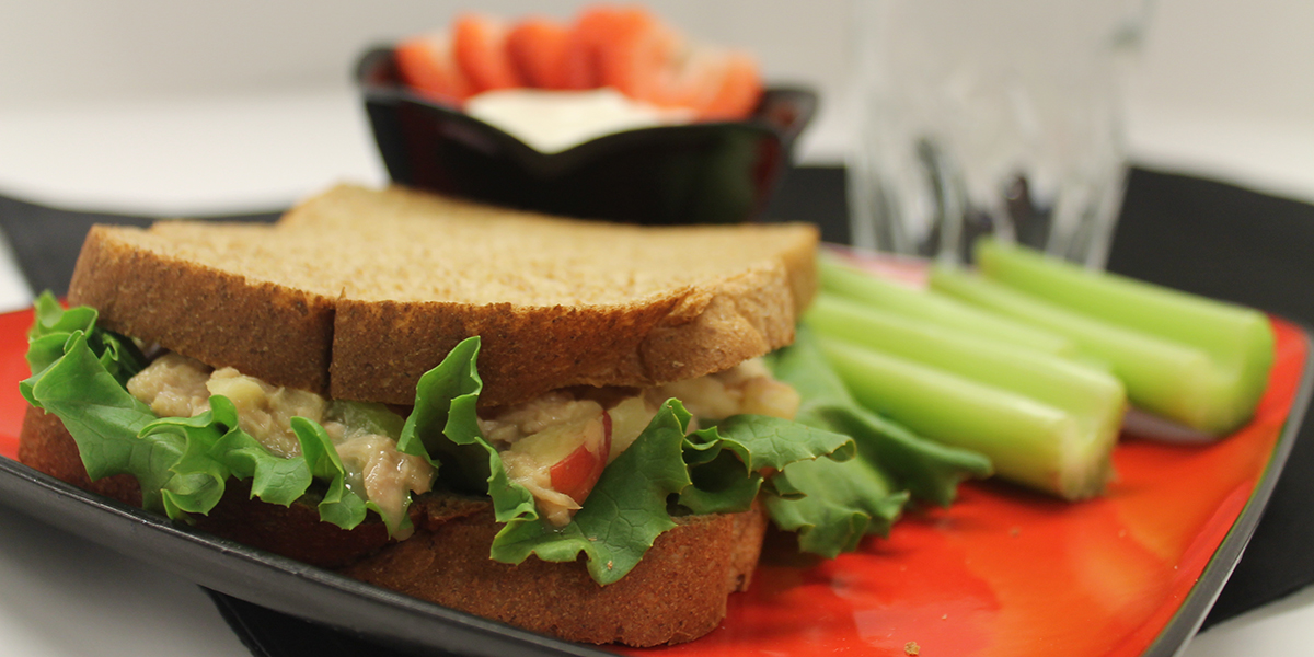 Apple Tuna Sandwiches with celery sticks