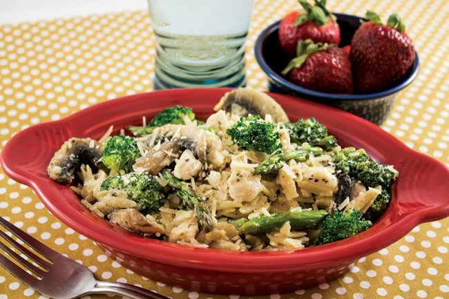 Bowl of Creamy Chicken and Broccoli Orzo