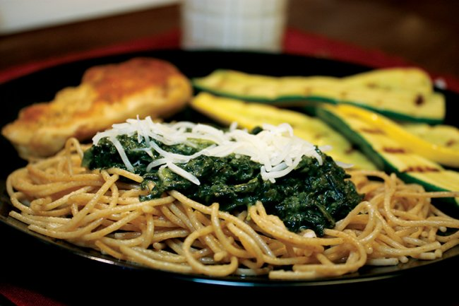 Plate of Creamy Spinach Noodles