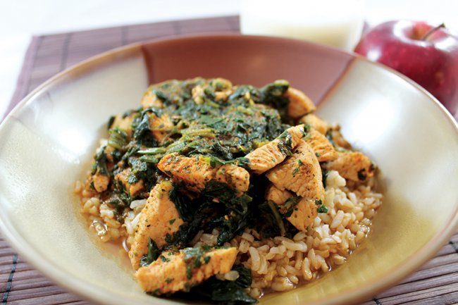 Bowl of Curried Chicken Spinach