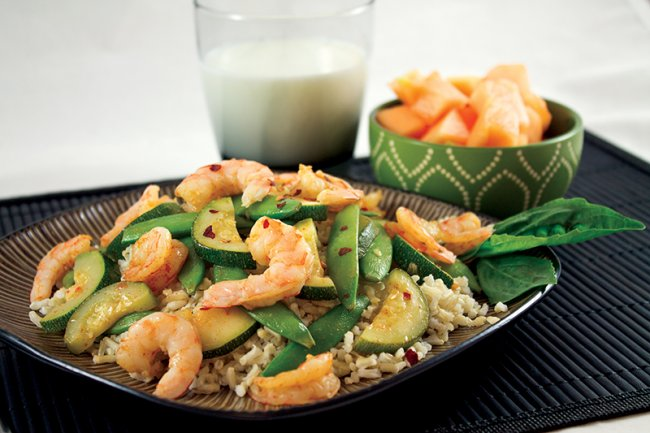 Plate of Lemon Shrimp Stir-Fry