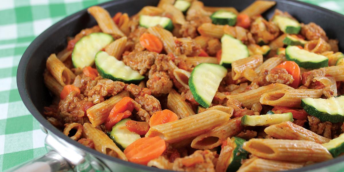 Bowl of pork and pasta supper skillet.