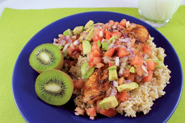 Plate of Spicy Chicken with Avocado Salsa