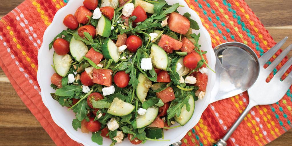 Bowl of Crisp Cucumber & Watermelon Salad