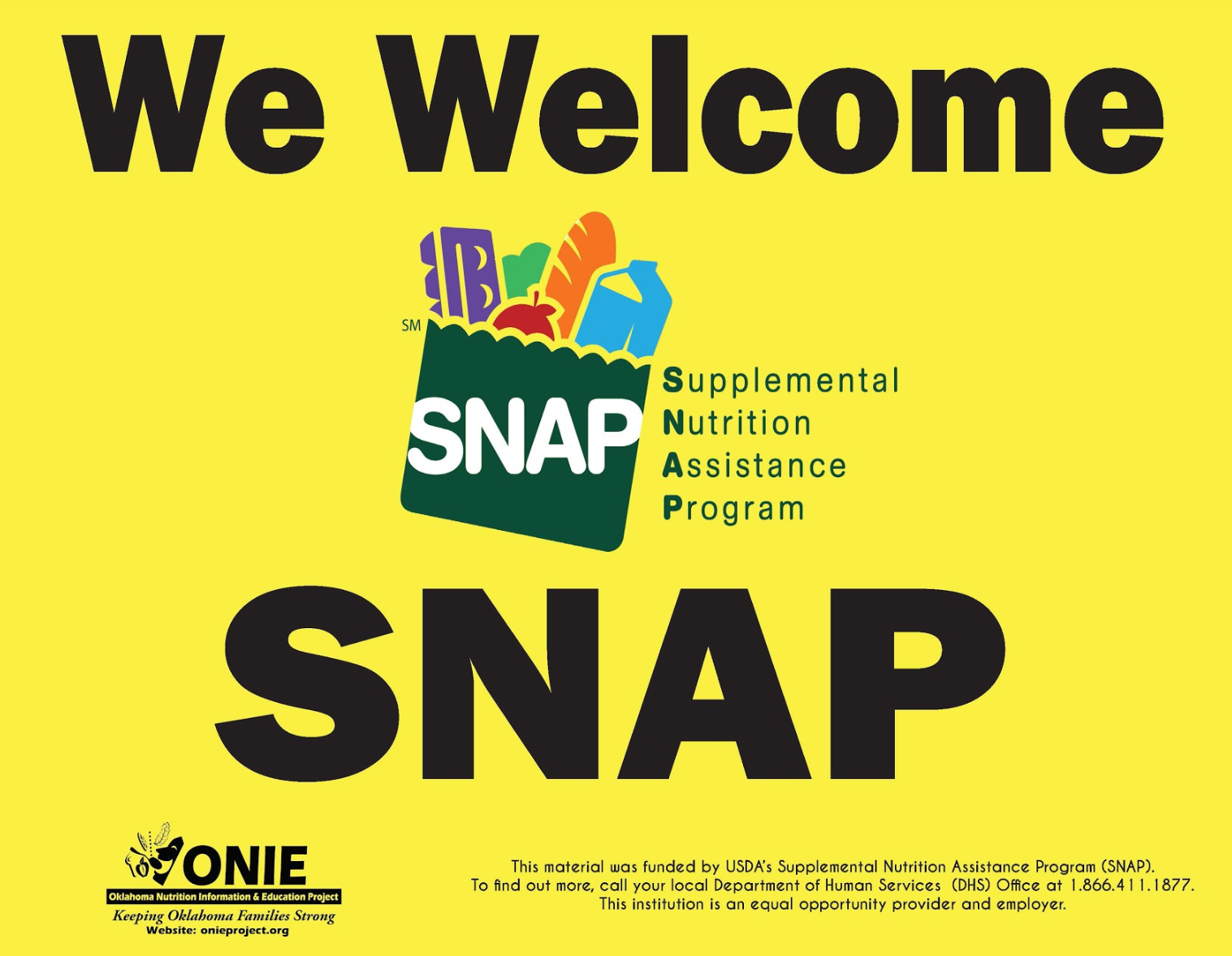 Welcome SNAP sign