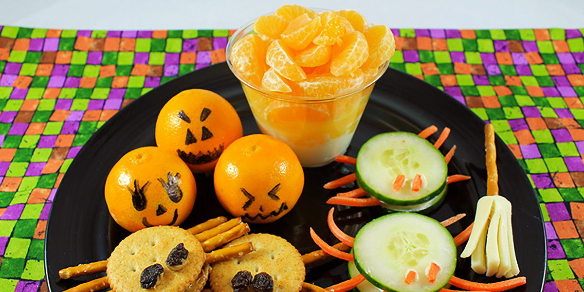Assorted healthy Halloween treats