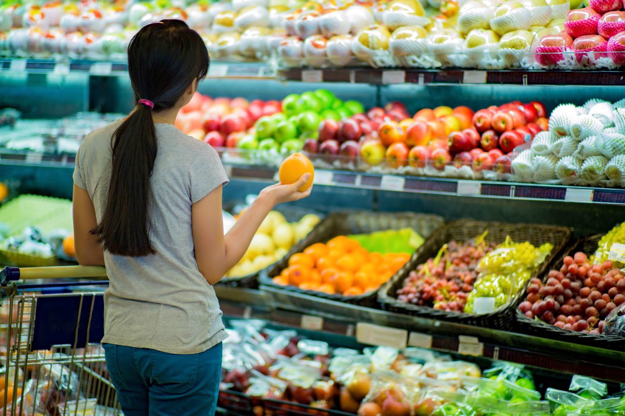 Woman looking at produce