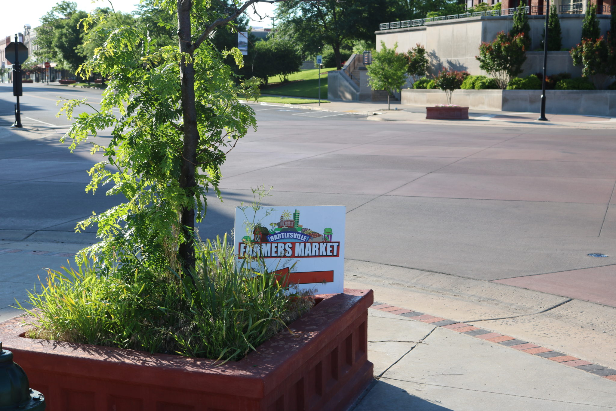 Bartlesville Farmers Market Sign in Planter