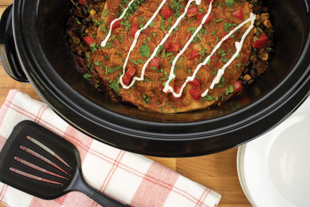 Slow cooker Enchilada stack