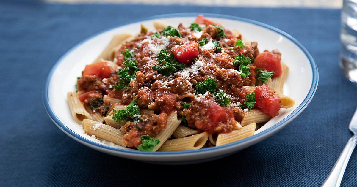 Pasta with green leafy vegetables