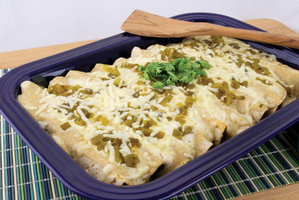 creamy chicken and spinach enchiladas